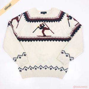 [F21] Men's White Nordic Holiday Skiing Sweater